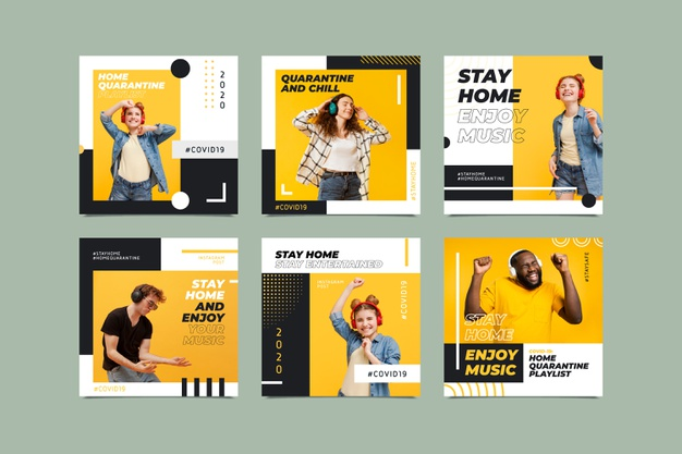 Stay at home event instagram post collection template Free Vector