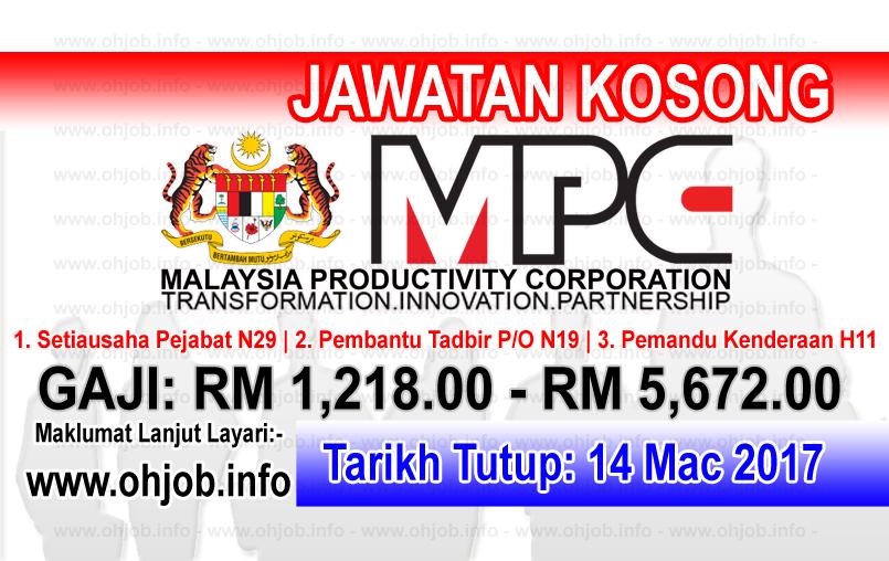 Jawatan Kerja Kosong MPC - Perbadanan Produktiviti Malaysia logo www.ohjob.info mac 2017