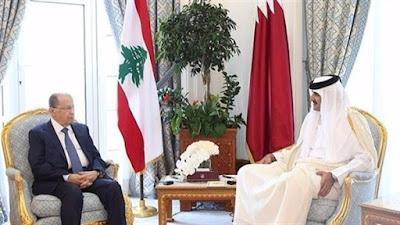 الرئيس اللبناني وأمير قطر