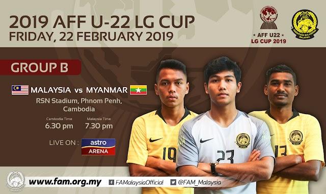 Live Streaming Malaysia vs Myanmar AFF U22 22.2.2019