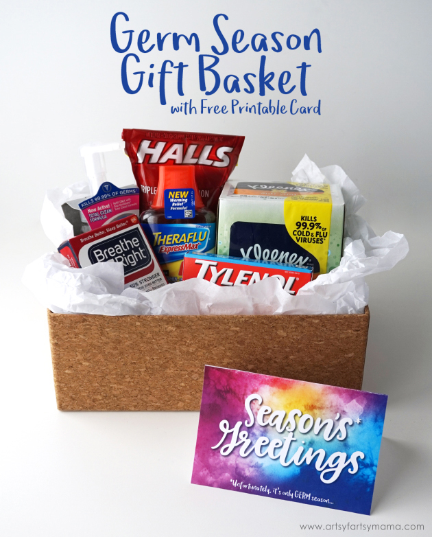 Put together a Germ Season Gift Basket with a Free Printable Card to get your teacher prepared for germ season! #HappilyStocked