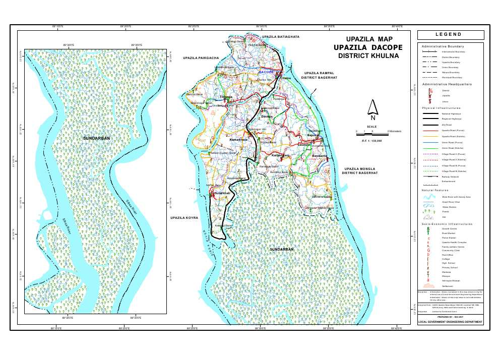 Dacope Upazila Map Khulna District Bangladesh