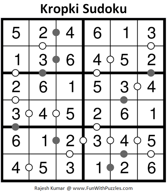 Kropki Sudoku (Mini Sudoku Series #86) Solution
