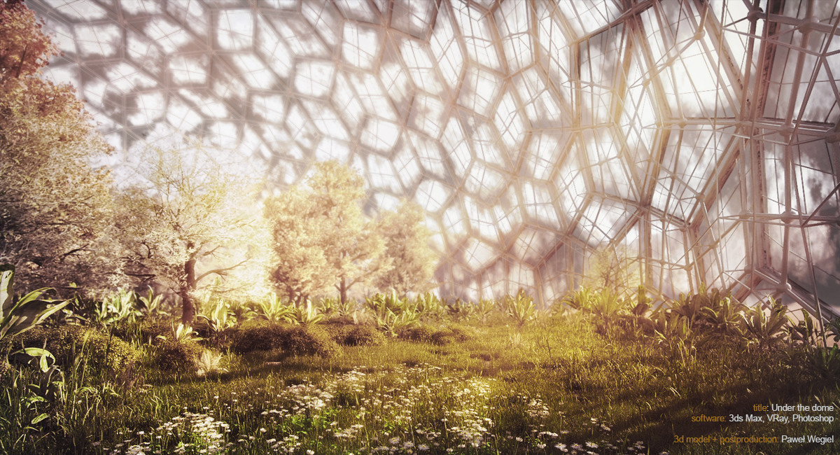 A garden under the dome on Mars by Pawel Wegiel