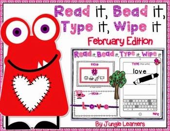 https://www.teacherspayteachers.com/Product/Read-it-Bead-it-Type-it-Wipe-it-February-Edition-1650197