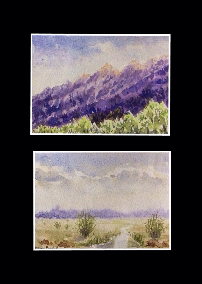 two landscape paintings in water colour by Manju Panchal