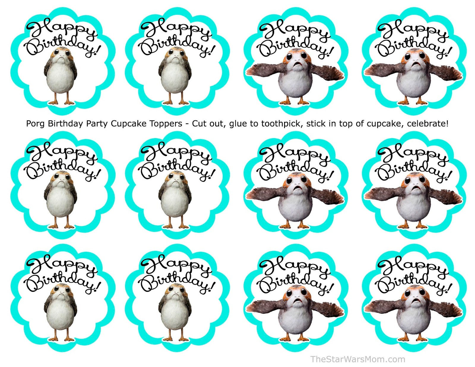 Porg Cupcake Toppers