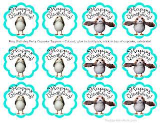 Porg Birthday Party Cupcake Toppers - Free Printables Star Wars Porgs