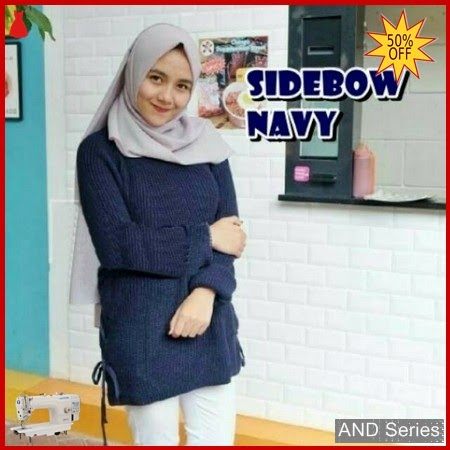 AND297 Sweater Wanita Rajut Sidebow Biru Navy BMGShop