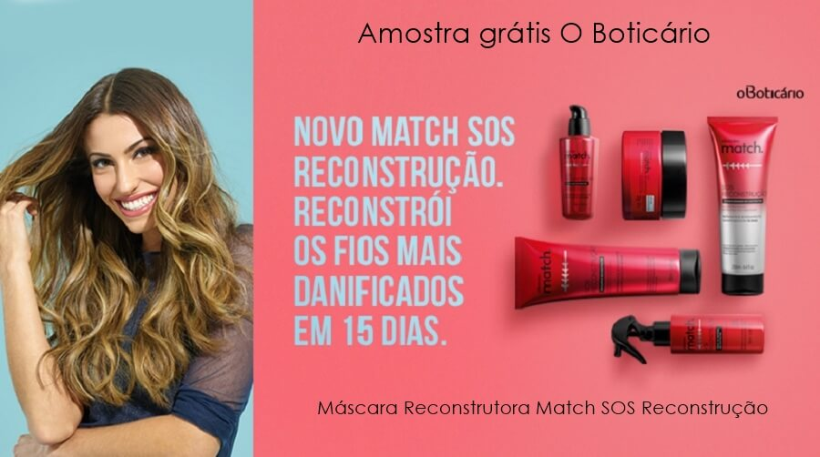 Amostra grátis O Boticário máscara reconstrutora Match SOS Reconstrução