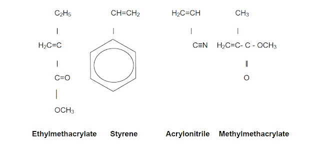 structure of ethylmethacrylate styrene and acrylonitrile methylmethacrylate used in making paints