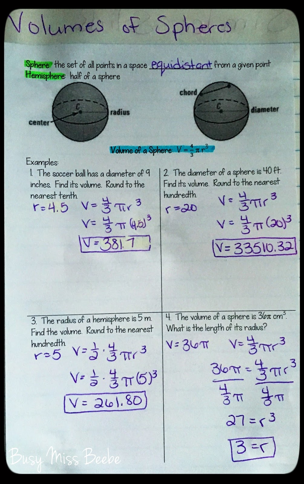 And The Volume Of Spheres
