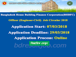 Bangladesh House Building Finance Corporation(BHBFC) Officer (Engineer-Civil) Job Circular 2018