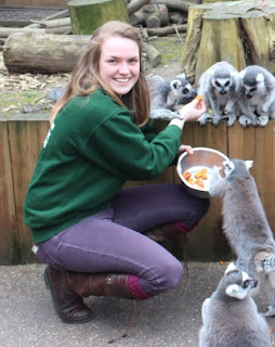 Fiona feeding lemurs