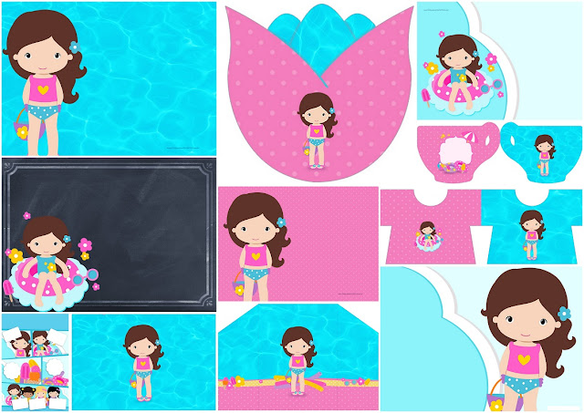 Brunette Girl Pool Party: Free Printable Invitations.