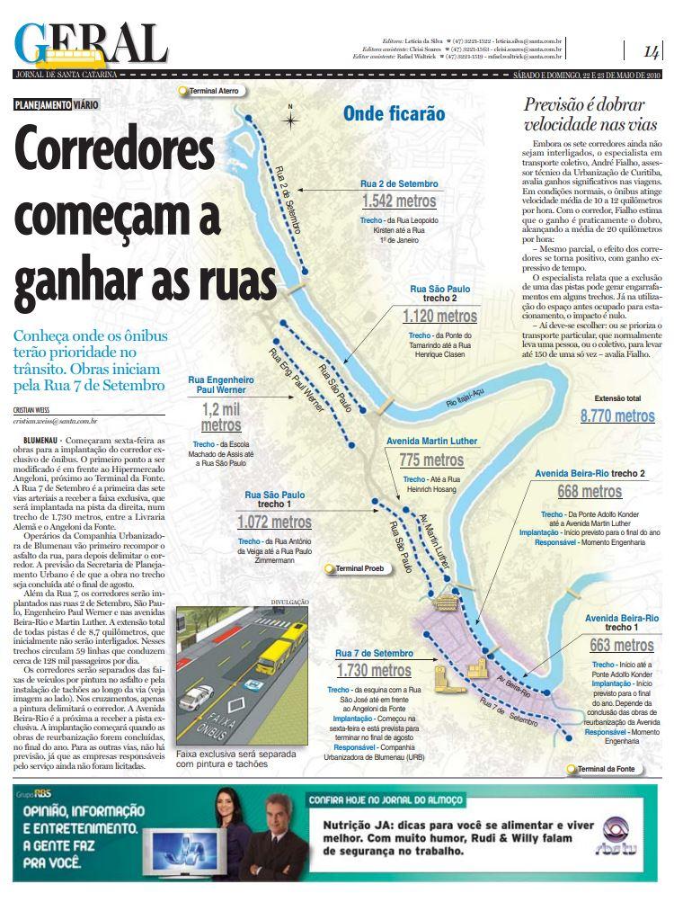 Corredores de ônibus em Blumenau na Rua 7 de Setembro para planejamento urbano e mobilidade por Cristian Weiss, Cristian Edel Weiss, Jornal de Santa Catarina, RBS e NSC Comunicação