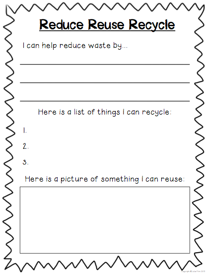 Reduce Reuse And Recycle Worksheets