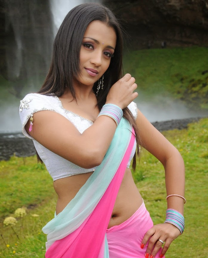 Trisha Milky Navel Show In White Saree Photos Tamil