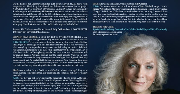 Discussions Magazine Music Blog: JUDY COLLINS: An EXCLUSIVE interview!