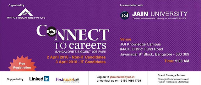 Biggest IT Job Fair in Bangalore on April 03, 2016 Apply Now
