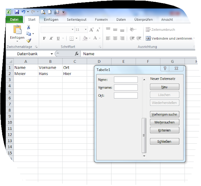 Excel Maske Erstellen