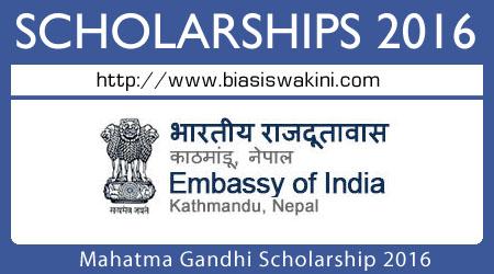 Mahatma Gandhi Scholarship Scheme 2016
