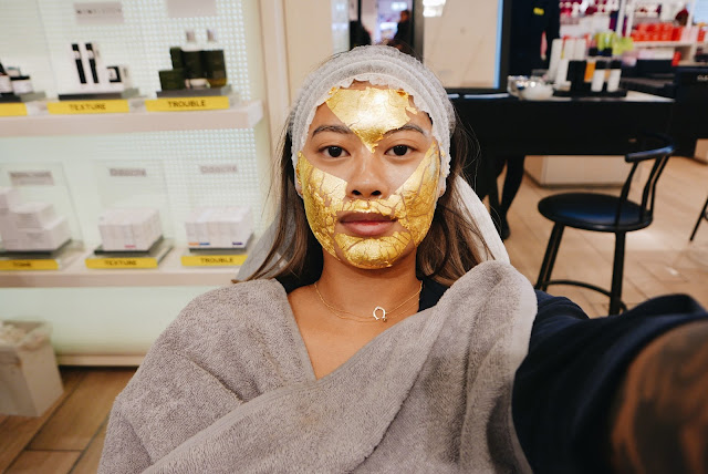 gold leaf mask, face gym, 24k golf leaf facial, selfiridges