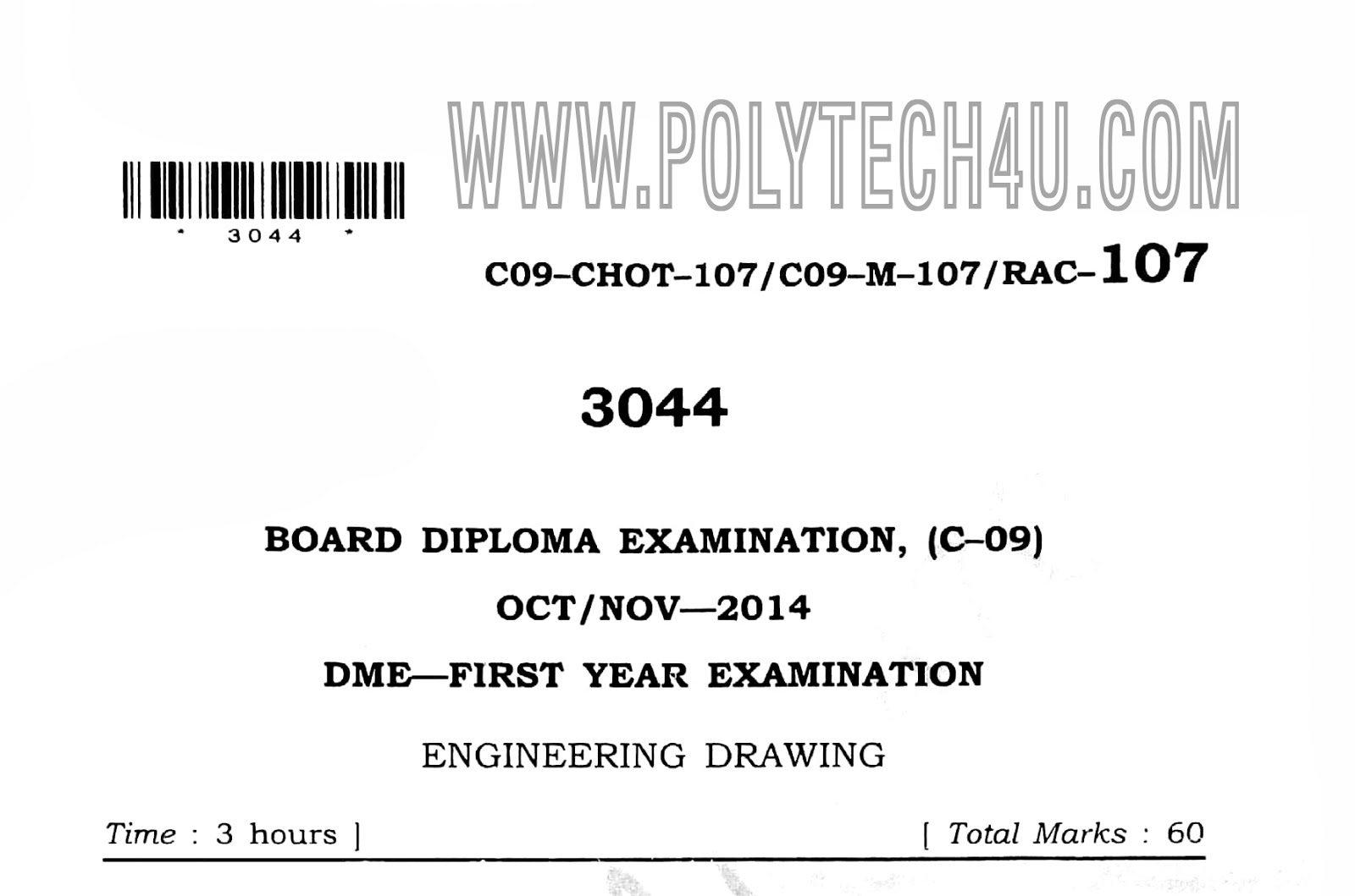 Diploma Mechanical Drawing Previous Question Paper C09 Oct Nov 2014