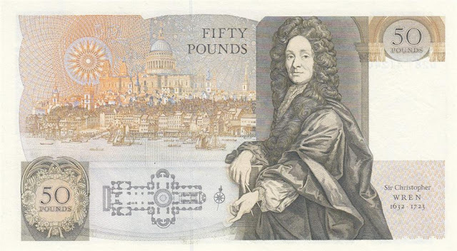 Bank of England Fifty pounds banknote Christopher Wren