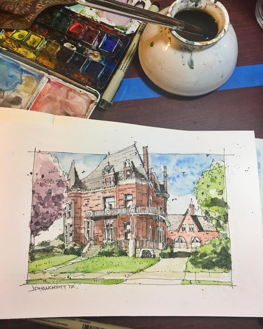 11-Victorian-Home-Voigt-House-Grand-Rapids-Josiah-Hanchett-Urban-Sketcher-taking-in-the-views-and-Drawing-them-www-designstack-co
