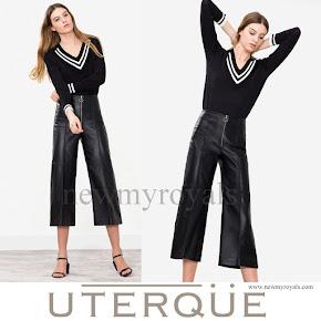 Queen Letizia Wore UTERQUE Nappa Trousers