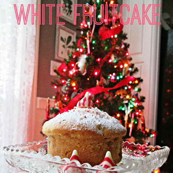 White Fruitcake Dusted With Powdered Sugar