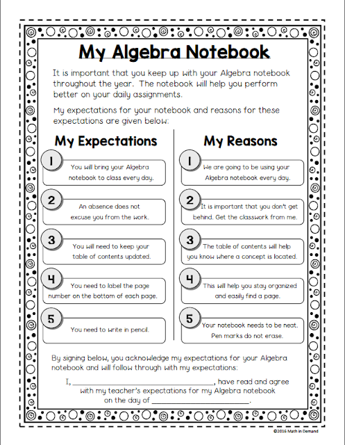 Algebra Interactive Notebook Starter