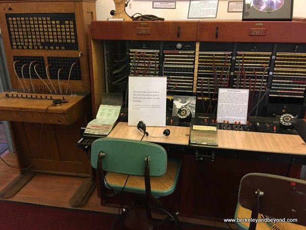 old-time telephone switchboard displayed at Lakeport Historic Courthouse Museum in Lakeport, California