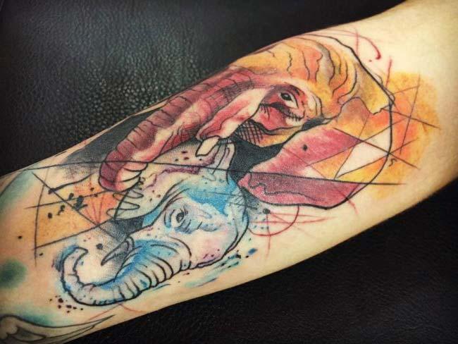 elephant art tattoo