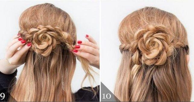 peinados fciles y cabello semi recogido con trenzas