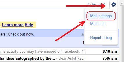 Screenshot of Gmail Mail Settings