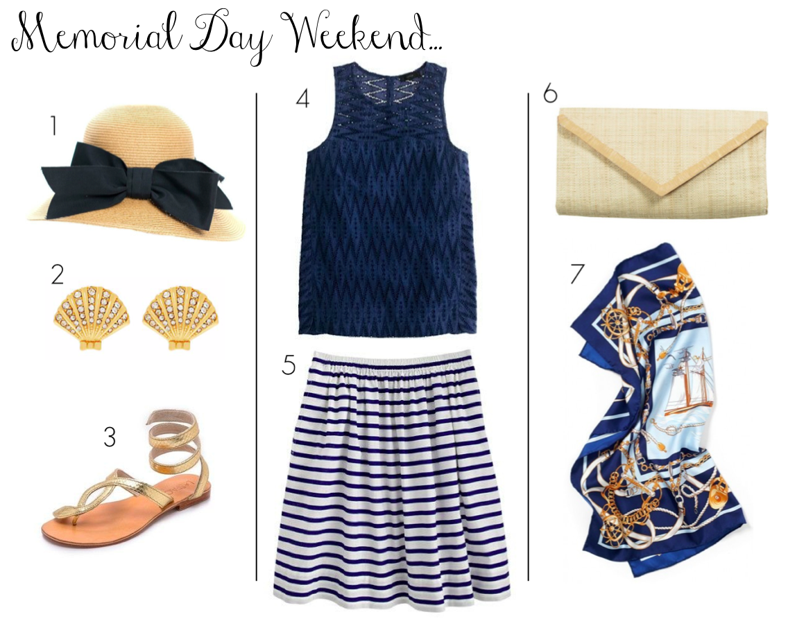 memorial day weekend sales - memorial day weekend outfit - stripes - nautical - print mixing - stripes and prints - hat with bow