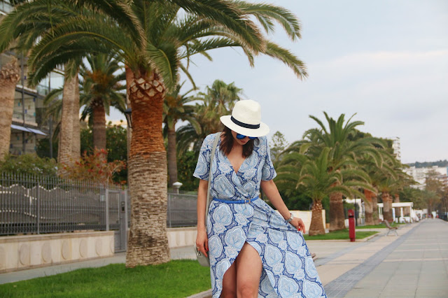 maxi dress, summer style, novamoda style, novamoda stylizacje, Novamoda streetstyle, błękitna maksi, sukienka maksi, stylistka poznan, panama, kapelusz panama, styl lato