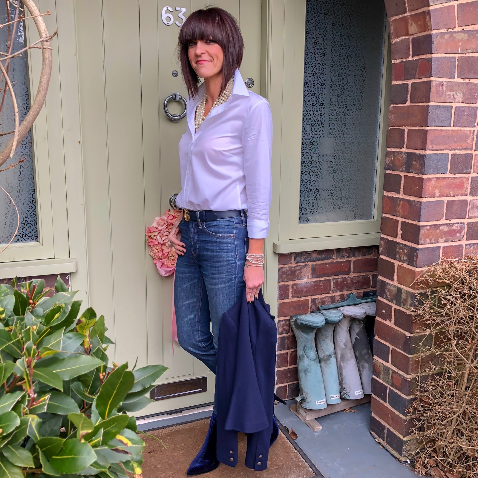 my midlife fashion, hawes and curtis white poplin semi fitted shirt single cuff, ralph lauren wool military jacket, j crew twisted hammock pearl necklace, gucci double GG belt, j crew cropped kick flare jeans, marks and spencer stiletto heel side zip ankle boots