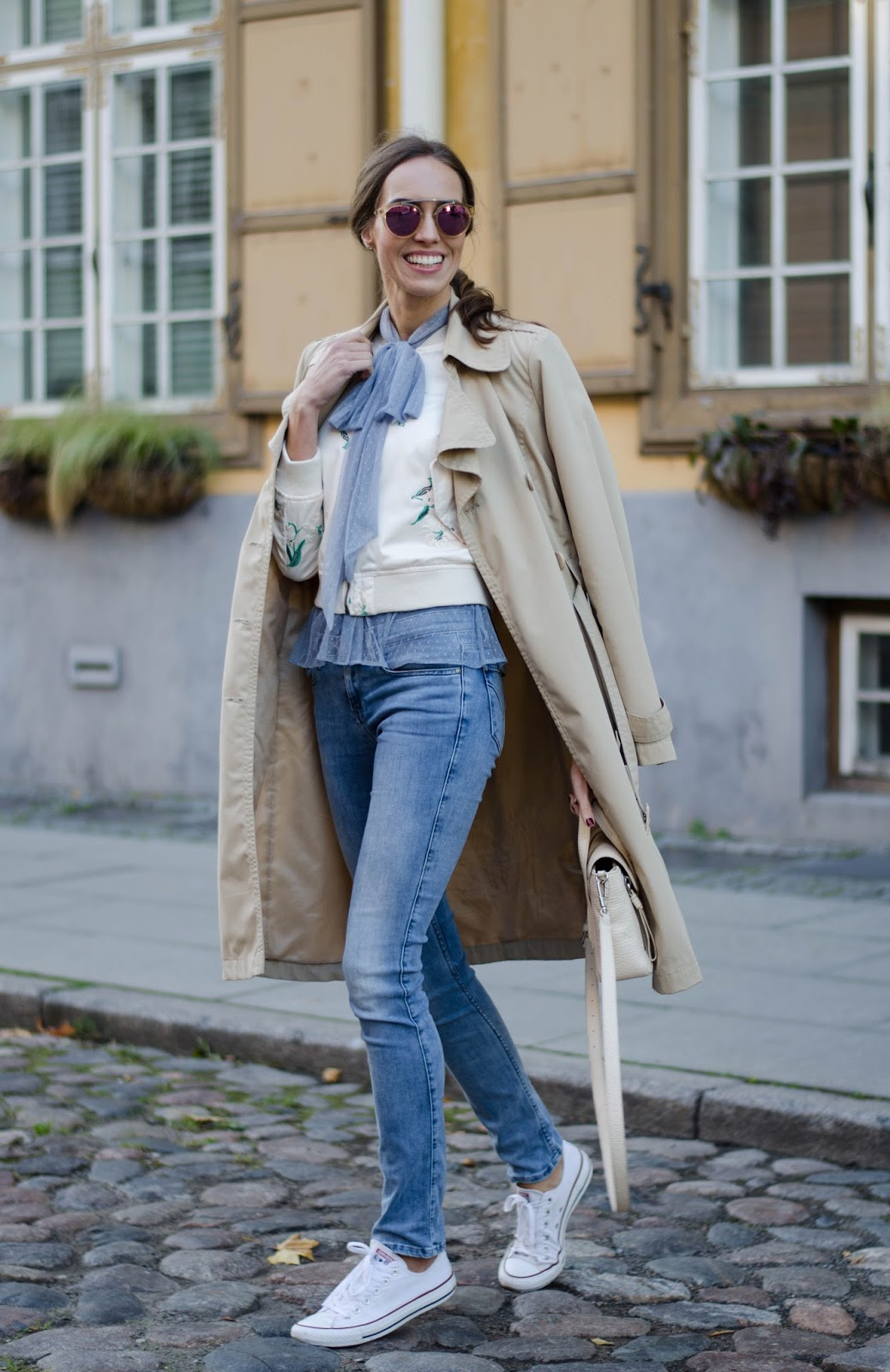bow blouse bomber jacket layered outfit