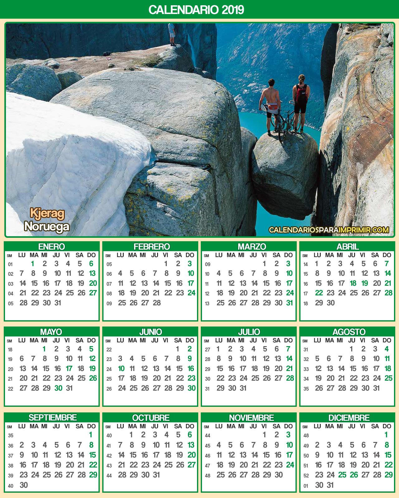 calendario  noruega 2019