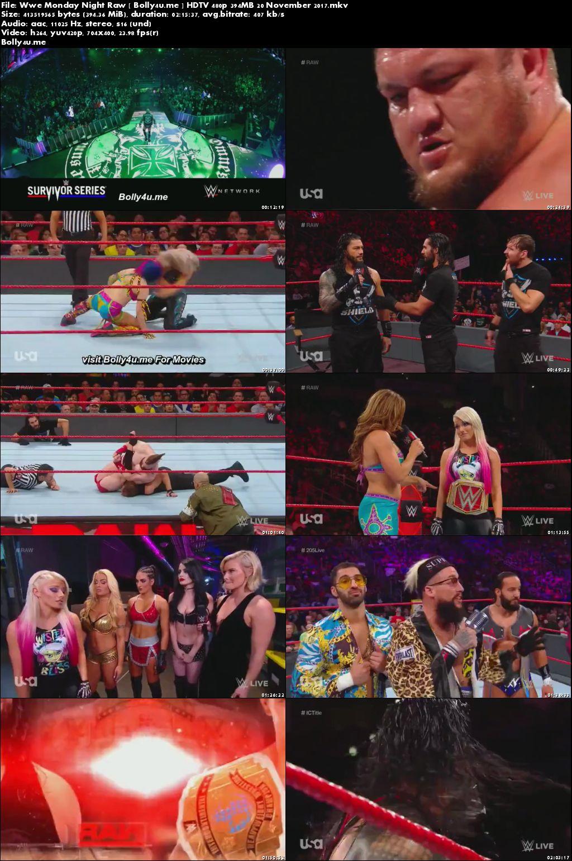 WWE Monday Night Raw HDTV 480p 400MB 20 November 2017 Download