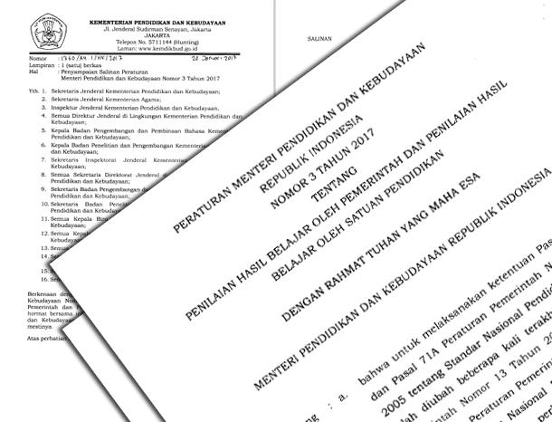 Permendikbud Nomor 3 Tahun 2017 Tentang Penilaian Hasil Belajar oleh Pemerintah dan Penilaian Hasil Belajar oleh Satuan Pendidikan