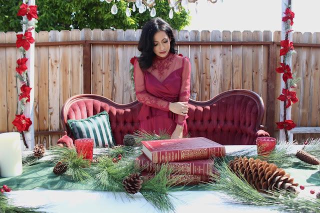 A Stylish Love Story Blog California lifestyle blogger Joanna Joy Vintage Christmas Victorian Style Christmas velvet French settee burgundy lace chandelier poinsettia