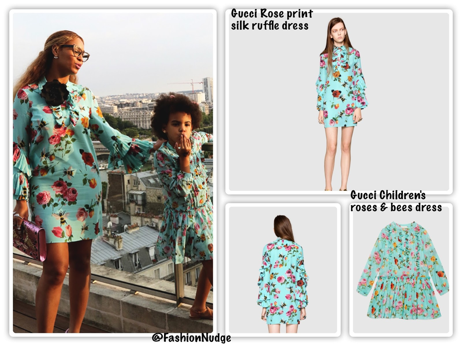43186c4a9 Beyonce's Gucci Rose print silk ruffle dress is a splurge, buy at Gucci.  And the lovely Blue Ivy is in Gucci Children's roses and bees dress, buy  HERE.