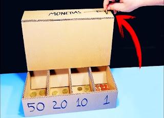 clasificador monedas, inventos cartón, manualidades, diys