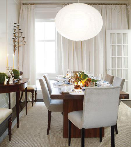 These longer candles add a classic look to the dining room.