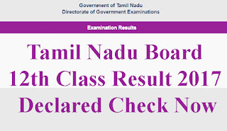 Tamil Nadu Board 12th Class Result 2017 HSC +2 Examination Results Declared Check Now