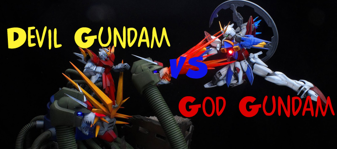 Devil Gundam Vs God Gundam Diorama